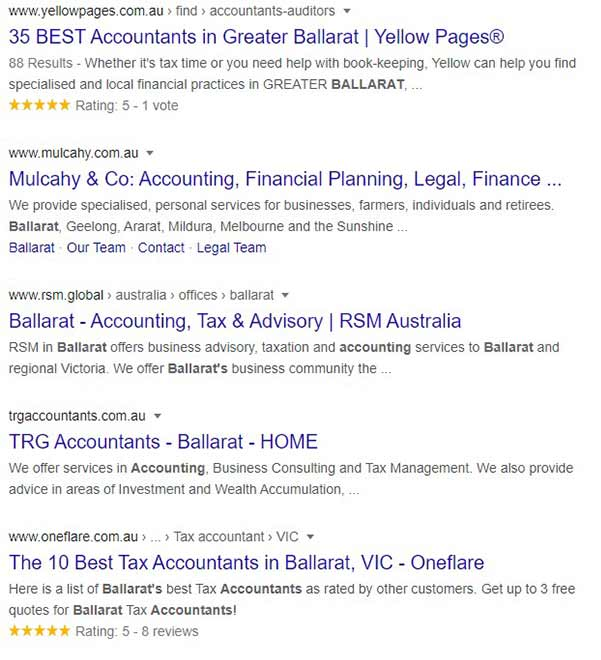 "Google search results for ""accountants Ballarat"""